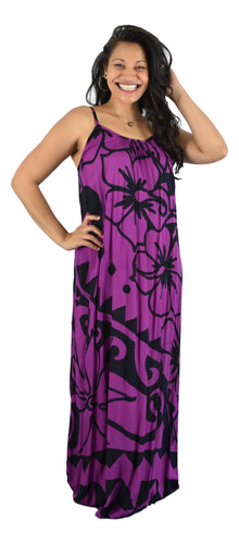 Aloha Royale - Bali Dress - Long - Hawaiian Hibiscus - Purple and Black