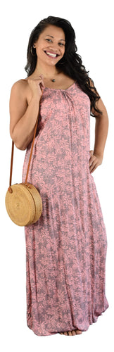 Aloha Royale - Bali Dress Long - Tropicana - Pink & Grey