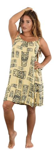 Aloha Royale - Bali Dress - Short -  Tiki Fabric - Crème and Black