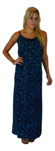 Aloha Royale - Long Bali Dress - Batik Pineapple - Black and Blue