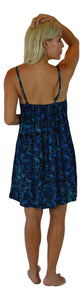 Aloha Royale - Short Bali Dress - Batik Pineapple - Black and Blue