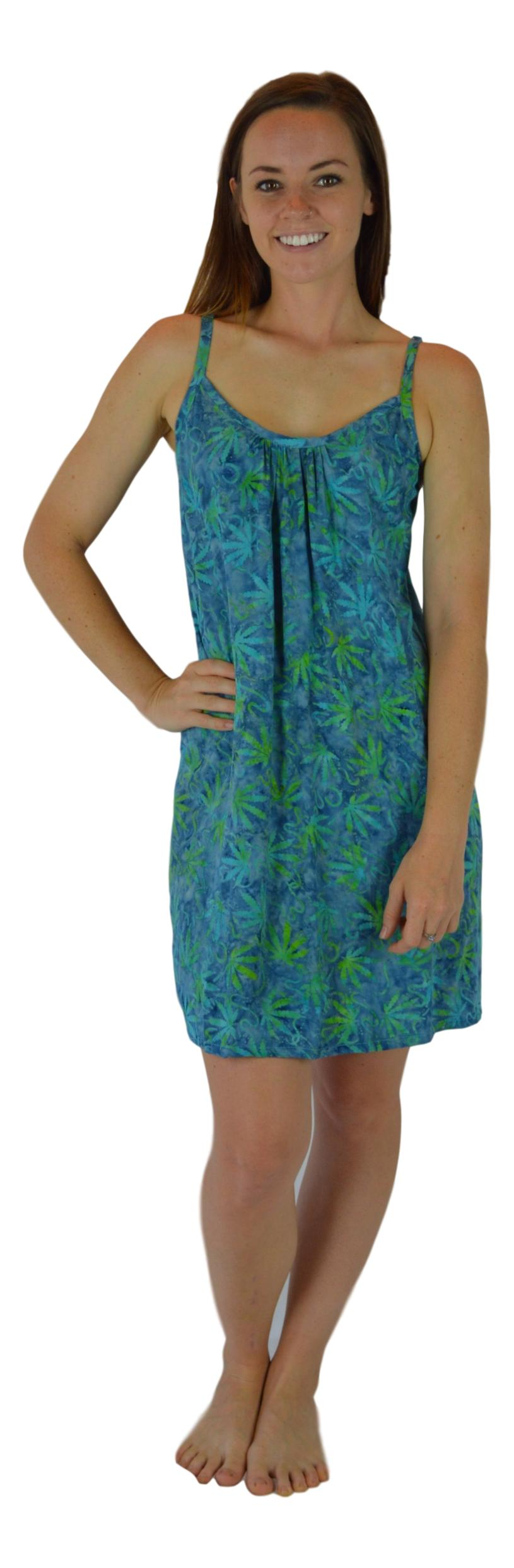 Aloha Royale - Short Bali Dress - Batik Ganja - Green