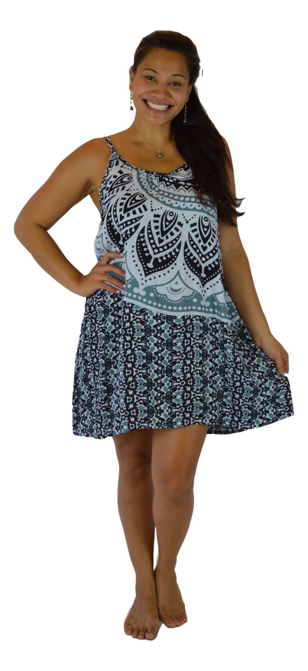 Holoholo - Bali Dress  - Mandala - Black - Short