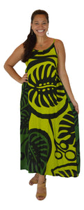 Holoholo - Bali Dress - Long - Monstera - Green