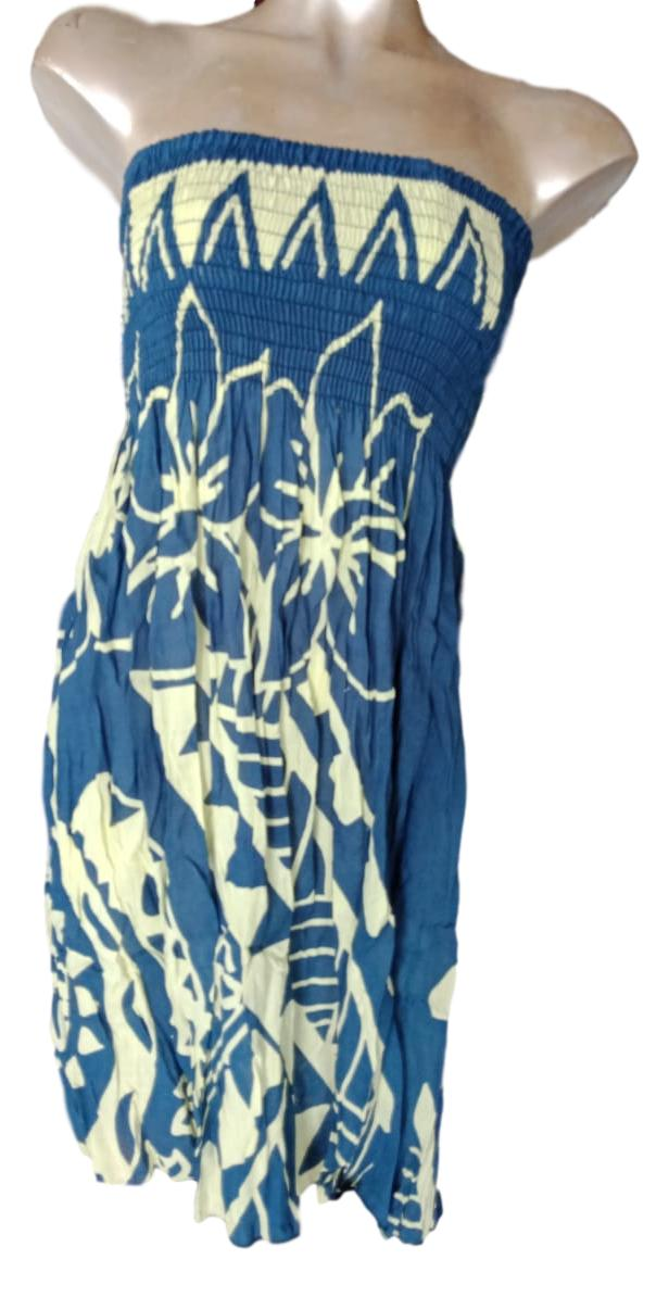 Island Style - Elastic Dress - Hawaiian Print - Blue