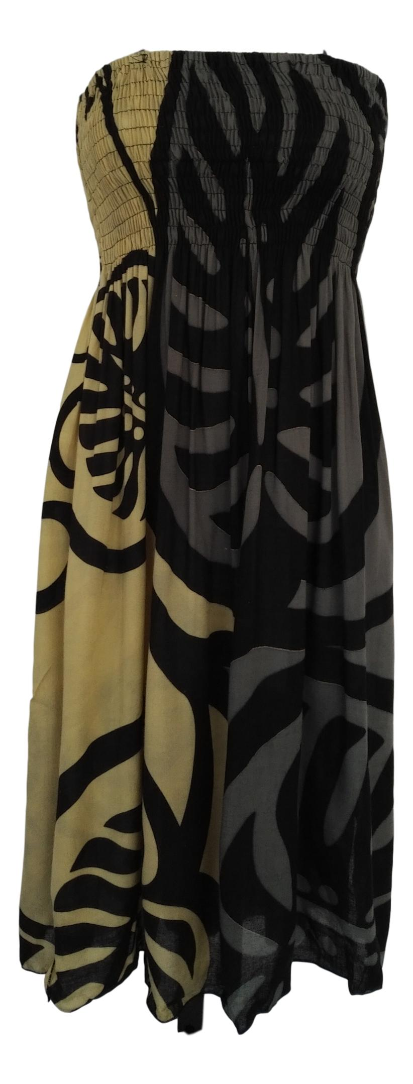 Island Style - Elastic Dress - Bold Monstera - Black and Grey