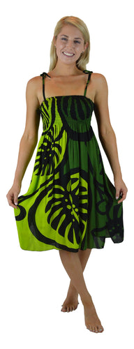 Island Style - Elastic Dress - Bold Monstera - Green