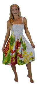 Island Style - Batik Dress  - White w/ Tropical Bouquet Design