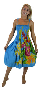 Island Style - Batik Elastic Dress - Turquoise w/ Tropical Bouquet Design
