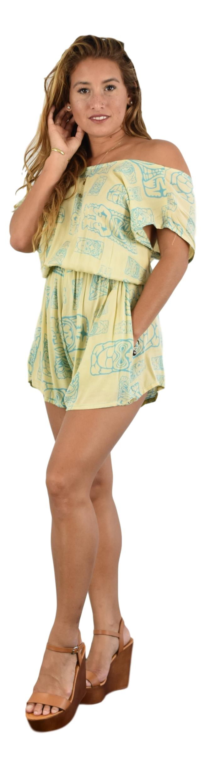 Aloha Royale - Romper - Tiki Fabric - Cream and Turquoise