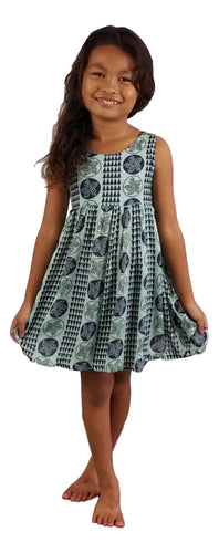 Aloha Royale - Girls' Dress - Hawaiian Plumeria - Aqua Splash and Acai