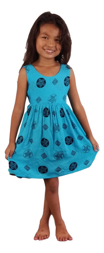 Aloha Royale - Girls' Dress - Bora Bora Plumeria - Black and Turquoise