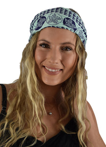 Headband Scrunchie Set - Hawaiian Plumeria - Aqua Splash and Acai