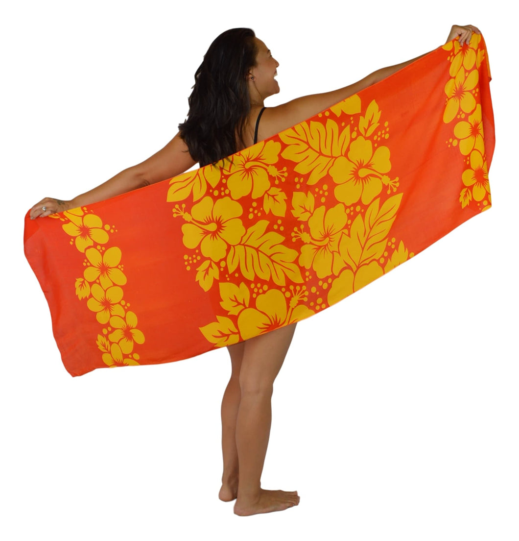 Island Style - Hibiscus Garden Sarong - Half - Red / Yellow