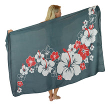 Island Style - Hibiscus Sarong - Full - Grey / White / Red
