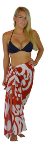 Island Style - Large Hibiscus Print Sarong - Full - Burgundy / White