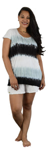 Aloha Royale - Kailua Jersey Top - Rainbow - White /  Harbor Mist  / Black