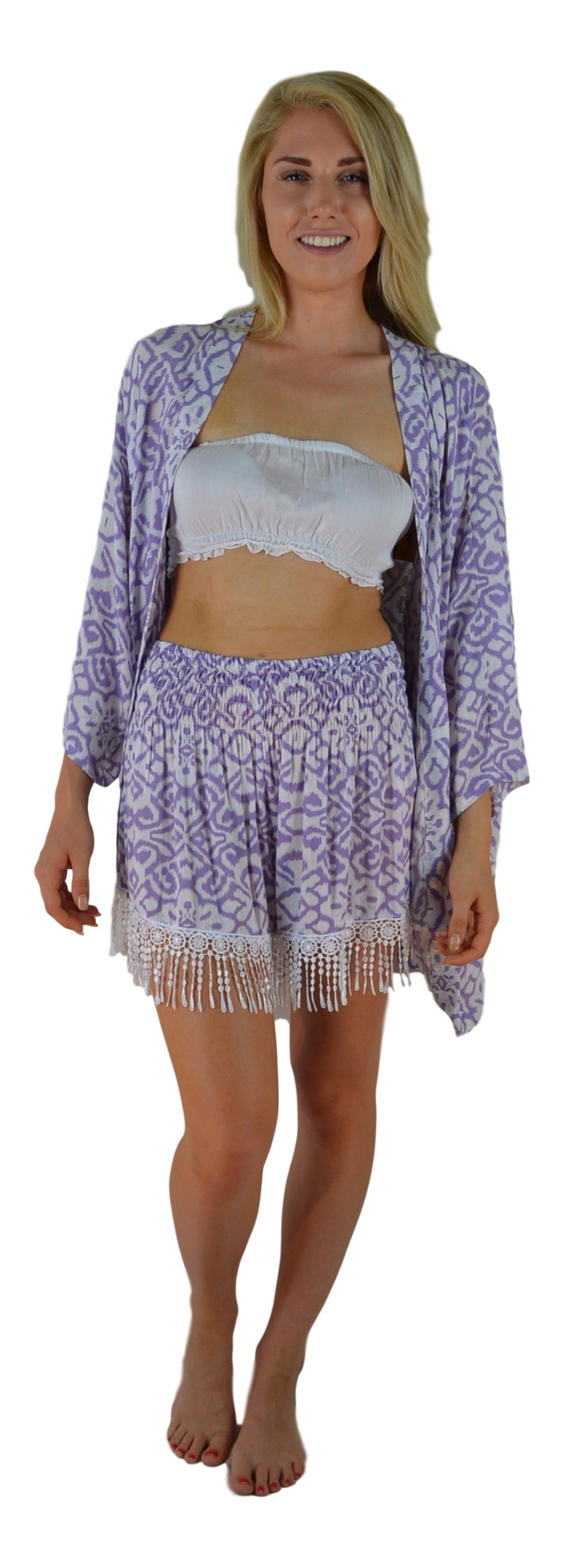 Secret Beach - Kula Jacket - Large Ikat - Lilac