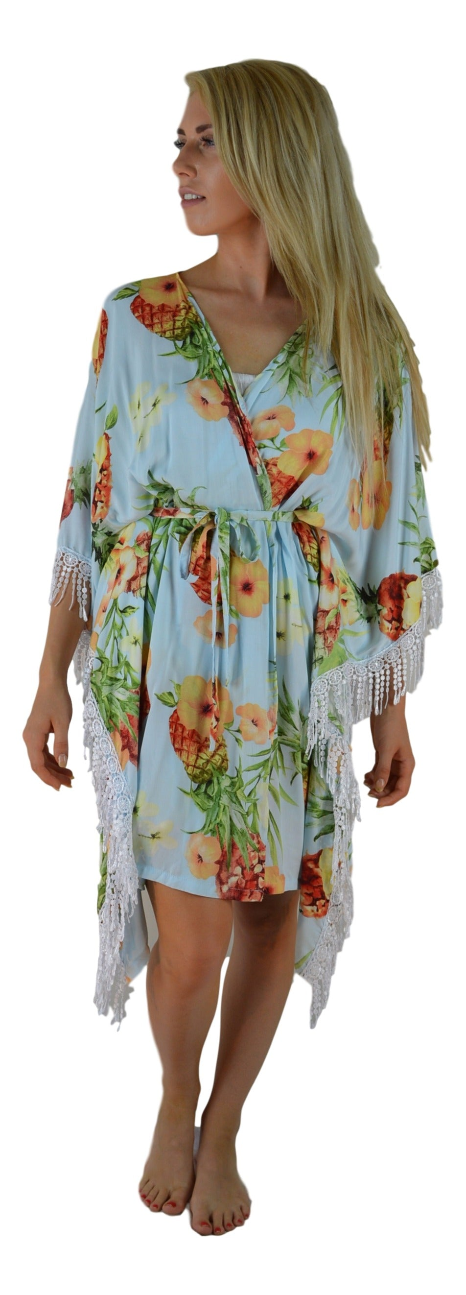 Secret Beach - Haiku Kimono - Long Lace - Hibiscus Pineapple - Light Blue