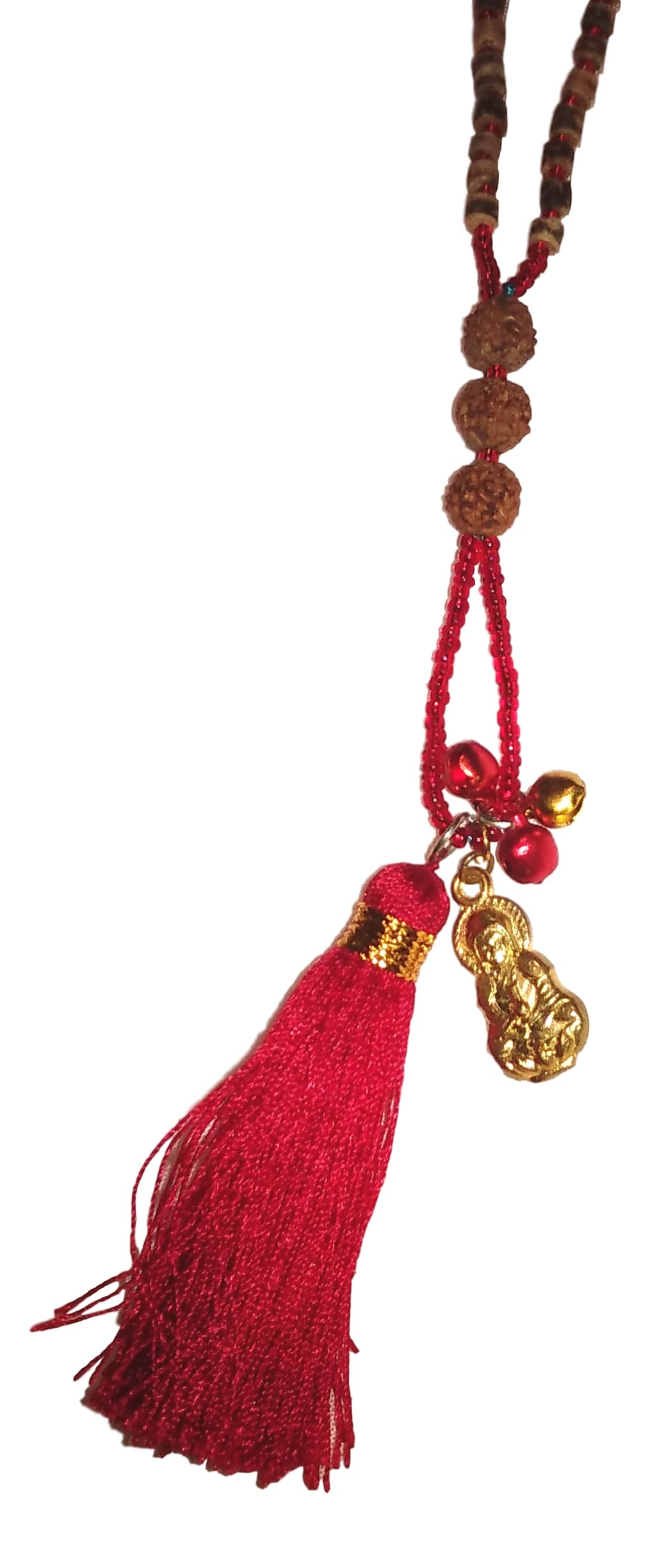 Jewelry - Mala Necklace with Budha, Bells, and Tassel - Red