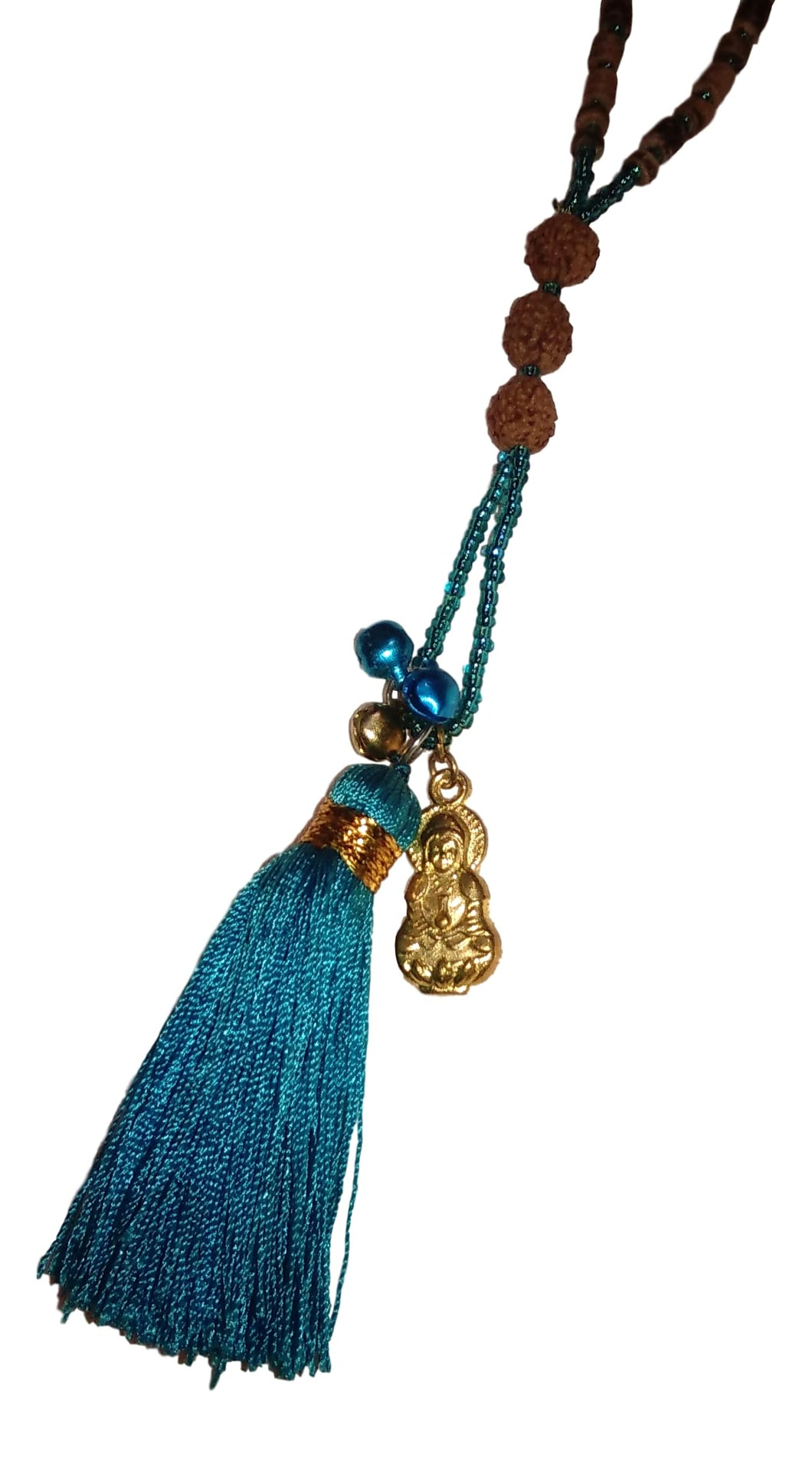 Jewelry - Mala Necklace with Buddha, Bells, and Tassel - Turquoise