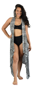 Secret Beach - Magic Sarong - Rounded Corners - Tribal - Black & White
