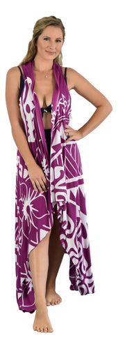 Aloha Royale - Magic Sarong - Rounded Corners - Hawaiian Turtle - Purple & White