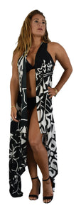 Aloha Royale - Magic Sarong - Rounded Corners - Hawaiian Hibiscus - Black & White