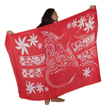 Island Style - Manta Tiare Sarong - Full-Size - Red / White