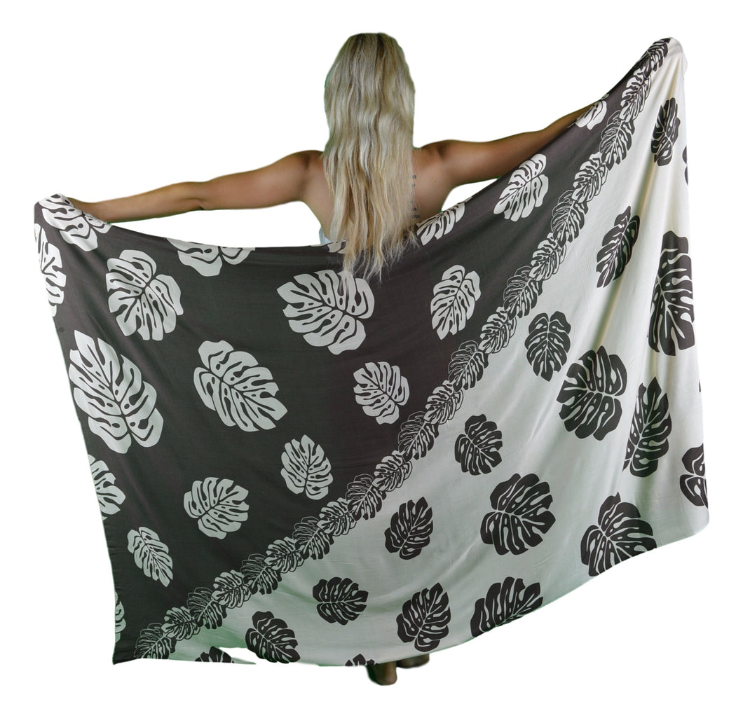Island Style - Monstera Sarong - Brown / Cream - Full
