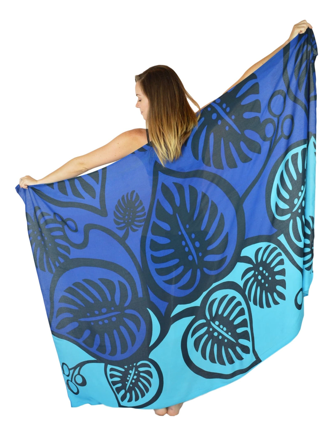 Island Style - Bold Monstera Sarong - Full - Blue / Lt Blue