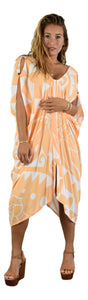 Makena Poncho with coconut buttons - Hawaiian HIbiscus - Orange