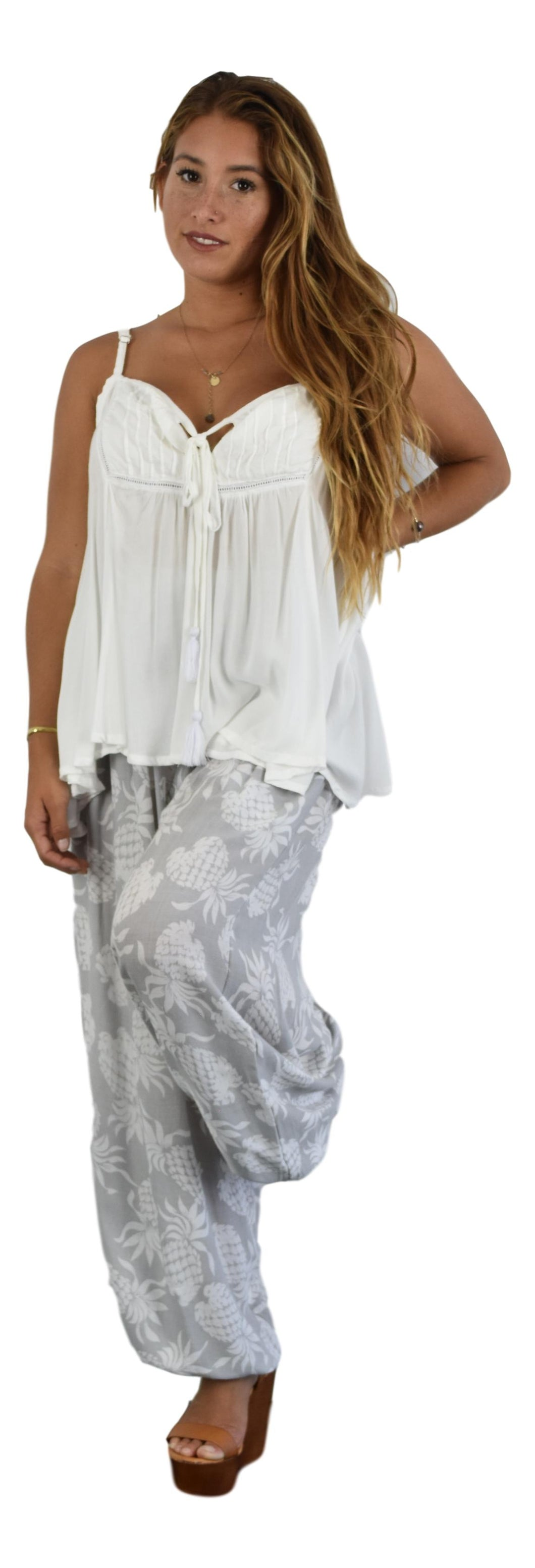 Secret Beach - Paia Top - White  - Chiffon Rayon with tape and tassels on tie