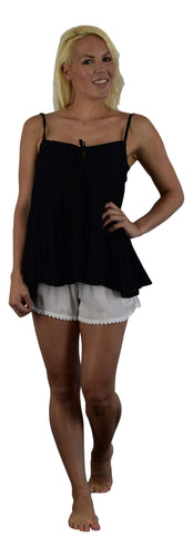 Secret Beach - Paia Top - Black  - Chiffon Rayon with tape and tassels on tie
