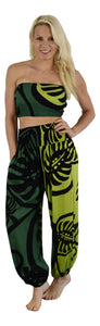 Holoholo - Pant with Bandeau Top  - Monstera - Green