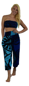 Holoholo - Pant with Bandeau Top  - Monstera - Blue