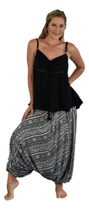 Secret Beach - Waikele Pant - coconut button - Tribal - Black & White