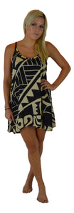 Aloha Royale - Puamana Strappy Dress - Hawaiian Turtle - Black Creme - Short