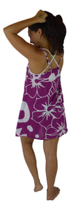 Aloha Royale - Puamana Strappy Dress - Hawaiian Hibiscus - Purple - Short