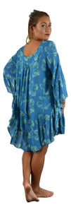 Secret Beach - Ruffle Cover Up - New Hibiscus - Palace Blue and Nile Green