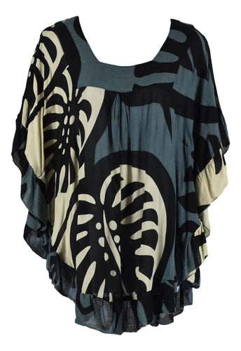 Ruffle Cover Up - Bold Monstera - Black and Grey