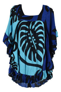 Ruffle Cover Up - Bold Monstera - Black and Blue