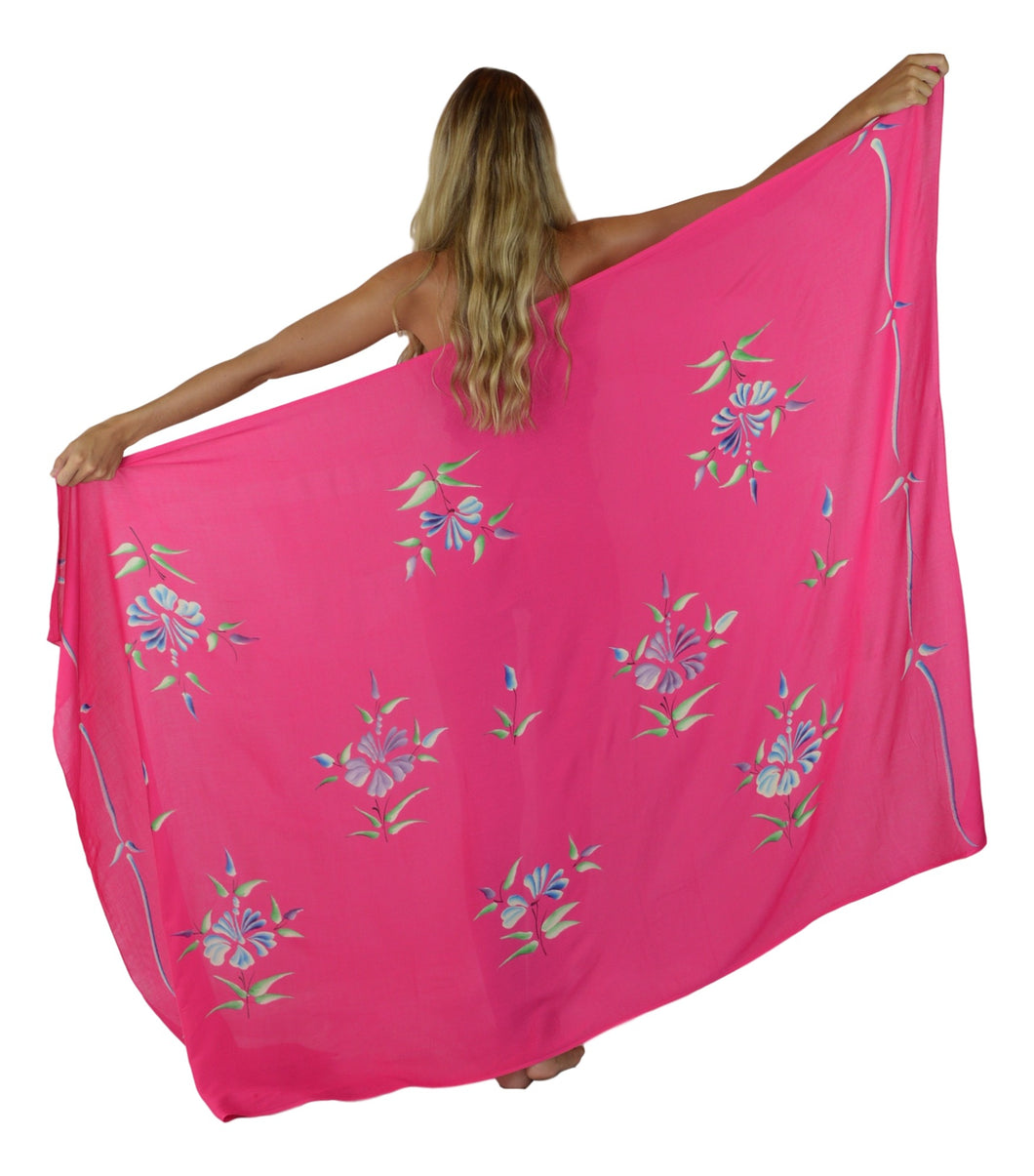 Island Style - Solid w/ Handpainted Flowers Full Sarong - Fuchsia