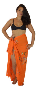 Island Style - Solid w/ Handpainted Flowers Full Sarong - Orange
