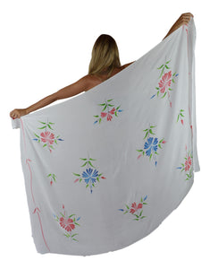 Island Style - Solid w/ Handpainted Flowers Full Sarong - White