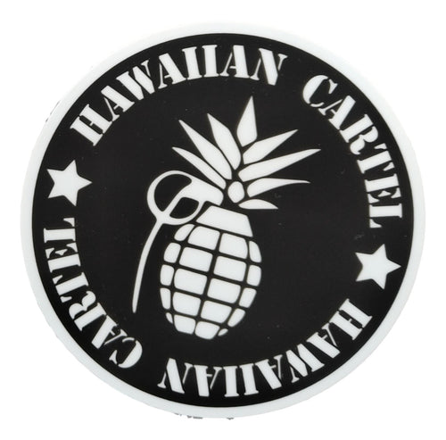 Sticker - Hawaiian Cartel Logo - Black and White - 4 inch circle