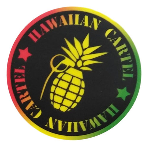 Sticker - Hawaiian Cartel Logo - Rasta - 2 inch circle