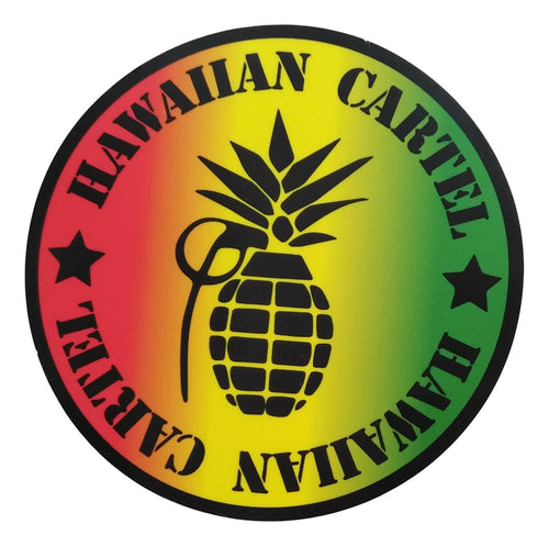 Sticker - Hawaiian Cartel Logo - Rasta - 4 inch circle