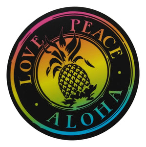 Sticker - Love Peace Aloha - Black Rainbow - 4 inch circle