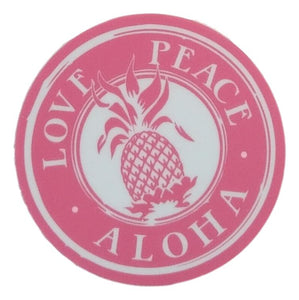 Sticker - Love Peace Aloha - Pink - 2 inch circle